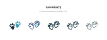 Pawprints Icon In Different Style Vector Illustration. Two Colored And Black Pawprints Vector Icons Designed In Filled, Outline, Line And Stroke Style Can Be Used For Web, Mobile, Ui