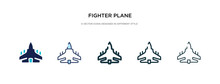 Fighter Plane Icon In Differen...