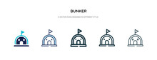 Bunker Icon In Different Style Vector Illustration. Two Colored And Black Bunker Vector Icons Designed In Filled, Outline, Line And Stroke Style Can Be Used For Web, Mobile, Ui