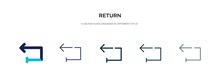 Return Icon In Different Style Vector Illustration. Two Colored And Black Return Vector Icons Designed In Filled, Outline, Line And Stroke Style Can Be Used For Web, Mobile, Ui