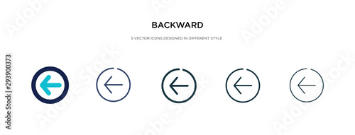 Photo backward icon in different style vector illustration