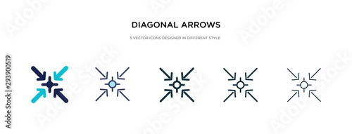 Obraz na plátně diagonal arrows icon in different style vector illustration