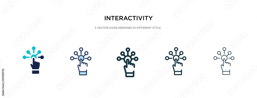 Fototapeta interactivity icon in different style vector illustration. two colored and black interactivity vector icons designed in filled, outline, line and stroke style can be used for web, mobile, ui