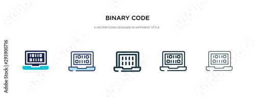 Fotografía binary code icon in different style vector illustration