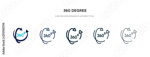 360 degree icon in different style vector illustration. two colored and black 360 degree vector icons designed in filled, outline, line and stroke style can be used for web, mobile, ui