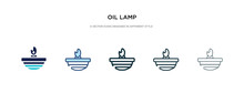 Oil Lamp Icon In Different Sty...