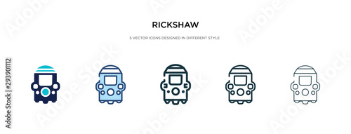 Fotografia, Obraz rickshaw icon in different style vector illustration