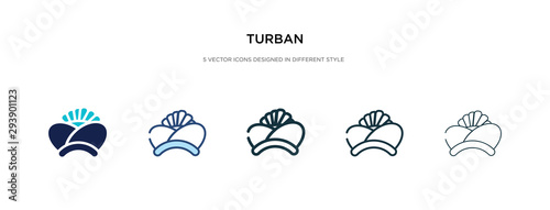 Fotomural turban icon in different style vector illustration