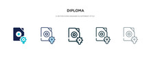 Diploma Icon In Different Style Vector Illustration. Two Colored And Black Diploma Vector Icons Designed In Filled, Outline, Line And Stroke Style Can Be Used For Web, Mobile, Ui