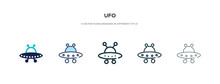 Ufo Icon In Different Style Vector Illustration. Two Colored And Black Ufo Vector Icons Designed In Filled, Outline, Line And Stroke Style Can Be Used For Web, Mobile, Ui