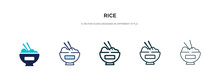 Rice Icon In Different Style Vector Illustration. Two Colored And Black Rice Vector Icons Designed In Filled, Outline, Line And Stroke Style Can Be Used For Web, Mobile, Ui