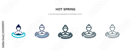 Foto hot spring icon in different style vector illustration