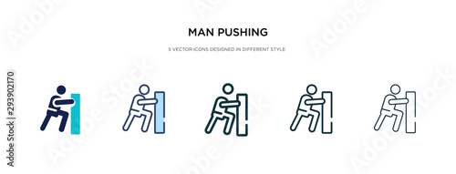 Fotografía  man pushing icon in different style vector illustration