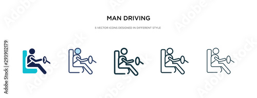 Obraz man driving icon in different style vector illustration. two colored and black man driving vector icons designed in filled, outline, line and stroke style can be used for web, mobile, ui - fototapety do salonu