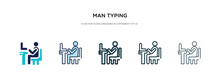 Man Typing Icon In Different S...