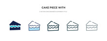 Cake Piece With Cream Icon In Different Style Vector Illustration. Two Colored And Black Cake Piece With Cream Vector Icons Designed In Filled, Outline, Line And Stroke Style Can Be Used For Web,