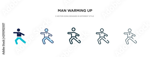 Photo man warming up icon in different style vector illustration