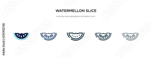 watermellon slice icon in different style vector illustration. two colored and black watermellon slice vector icons designed in filled, outline, line and stroke style can be used for web, mobile, ui