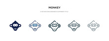 Monkey Icon In Different Style Vector Illustration. Two Colored And Black Monkey Vector Icons Designed In Filled, Outline, Line And Stroke Style Can Be Used For Web, Mobile, Ui