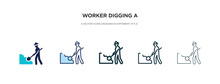 Worker Digging A Hole Icon In ...
