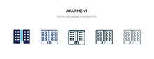 Aparment Icon In Different Style Vector Illustration. Two Colored And Black Aparment Vector Icons Designed In Filled, Outline, Line And Stroke Style Can Be Used For Web, Mobile, Ui