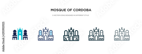 mosque of cordoba icon in different style vector illustration. two colored and black mosque of cordoba vector icons designed in filled, outline, line and stroke style can be used for web, mobile, ui