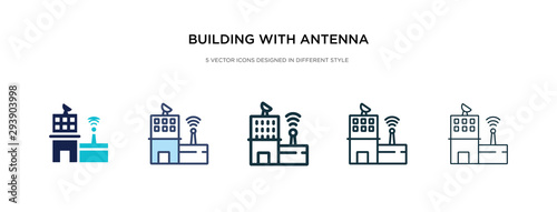 building with antenna icon in different style vector illustration Wallpaper Mural