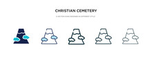 Christian Cemetery Icon In Different Style Vector Illustration. Two Colored And Black Christian Cemetery Vector Icons Designed In Filled, Outline, Line And Stroke Style Can Be Used For Web, Mobile,