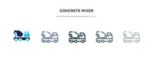 Concrete Mixer Icon In Differe...