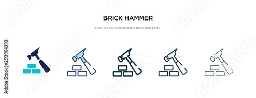 Fotografie, Tablou brick hammer icon in different style vector illustration