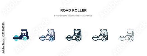 Canvas Print road roller icon in different style vector illustration