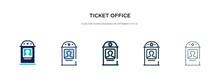 Ticket Office Icon In Differen...
