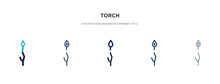 Torch Icon In Different Style Vector Illustration. Two Colored And Black Torch Vector Icons Designed In Filled, Outline, Line And Stroke Style Can Be Used For Web, Mobile, Ui