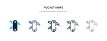 Pocket Knife Icon In Different...