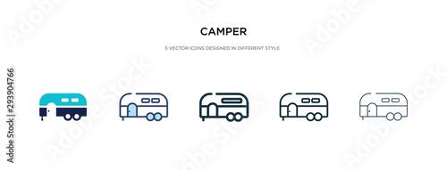 Fotografie, Obraz camper icon in different style vector illustration