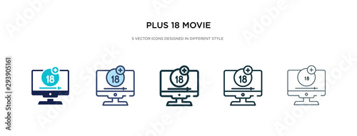 plus 18 movie icon in different style vector illustration Canvas Print