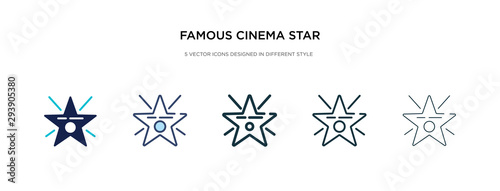 famous cinema star icon in different style vector illustration. two colored and black famous cinema star vector icons designed in filled, outline, line and stroke style can be used for web, mobile,