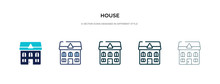 House Icon In Different Style Vector Illustration. Two Colored And Black House Vector Icons Designed In Filled, Outline, Line And Stroke Style Can Be Used For Web, Mobile, Ui