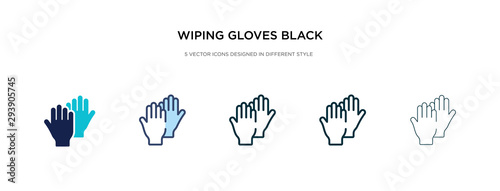 Photo wiping gloves black pair icon in different style vector illustration