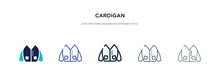 Cardigan Icon In Different Style Vector Illustration. Two Colored And Black Cardigan Vector Icons Designed In Filled, Outline, Line And Stroke Style Can Be Used For Web, Mobile, Ui