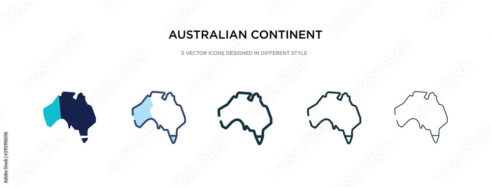 Fototapety, obrazy: australian continent icon in different style vector illustration. two colored and black australian continent vector icons designed in filled, outline, line and stroke style can be used for web,
