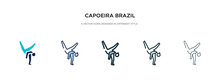 Capoeira Brazil Dancers Icon In Different Style Vector Illustration. Two Colored And Black Capoeira Brazil Dancers Vector Icons Designed In Filled, Outline, Line And Stroke Style Can Be Used For
