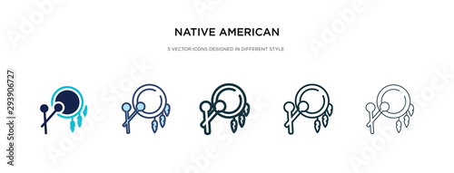 Fotografering native american drum icon in different style vector illustration