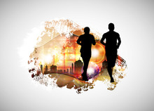 Running Man. Sport Background ...