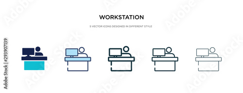 workstation icon in different style vector illustration. two colored and black workstation vector icons designed in filled, outline, line and stroke style can be used for web, mobile, ui