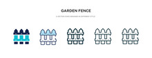 Garden Fence Icon In Different Style Vector Illustration. Two Colored And Black Garden Fence Vector Icons Designed In Filled, Outline, Line And Stroke Style Can Be Used For Web, Mobile, Ui
