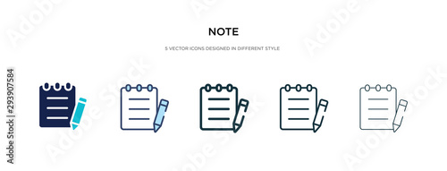 Stampa su Tela note icon in different style vector illustration