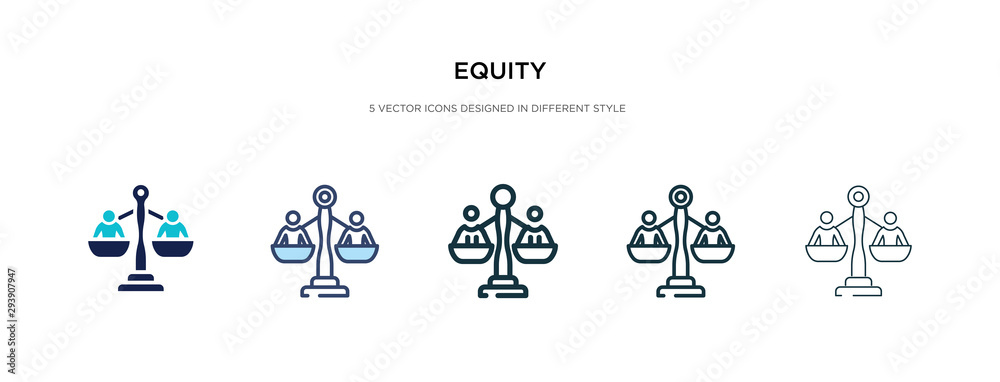 Fototapeta equity icon in different style vector illustration. two colored and black equity vector icons designed in filled, outline, line and stroke style can be used for web, mobile, ui