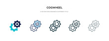 Cogwheel Icon In Different Style Vector Illustration. Two Colored And Black Cogwheel Vector Icons Designed In Filled, Outline, Line And Stroke Style Can Be Used For Web, Mobile, Ui