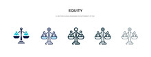 Equity Icon In Different Style Vector Illustration. Two Colored And Black Equity Vector Icons Designed In Filled, Outline, Line And Stroke Style Can Be Used For Web, Mobile, Ui